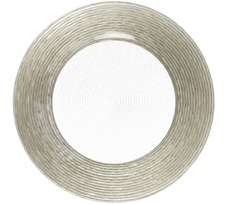 "12.5"" Chargeit by Jay Round Circus Silver Border Charger Plate - Set of 12 