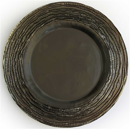"13"" Chargeit by Jay Round Arizona Gray Glass Charger Plate - Set of 12"