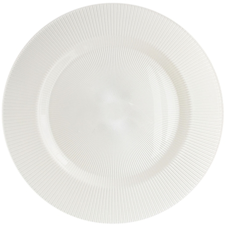 "13.39"" Chargeit by Jay Round Sunray Pearl White Charger Plate - Set of 12 