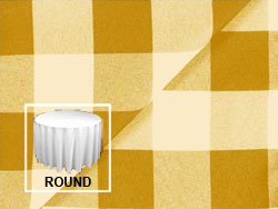"Polyester Check  90"" Round Tablecloth"