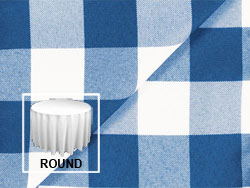 "Polyester Check 120"" Round Tablecloth"