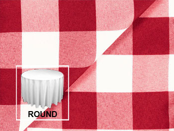 "Polyester Check 132"" Round Tablecloth"