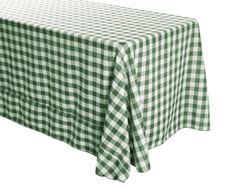 "Polyester Check 90"" x 132"" Rectangular Tablecloth"