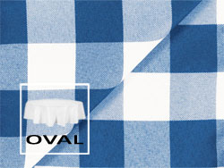 "Polyester Check 108"" x 132"" Oval Tablecloth"