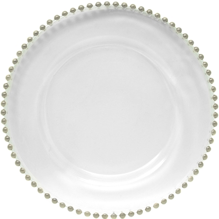 "13"" Chargeit by Jay Silver Beaded Charger Plate - Set of 12"