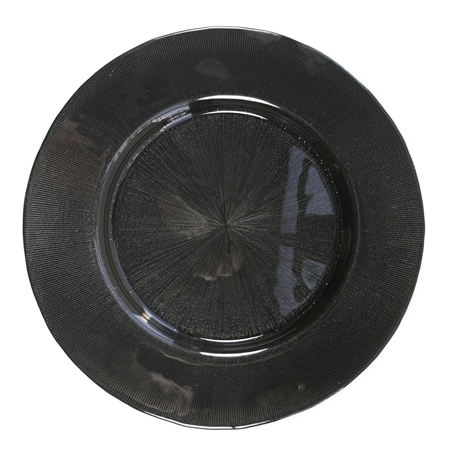 "13"" Chargeit by Jay Round Starburst Black Charger Plate - Set of 4"