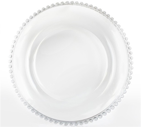 "13"" Chargeit by Jay Clear Beaded Charger Plate - Set of 12"