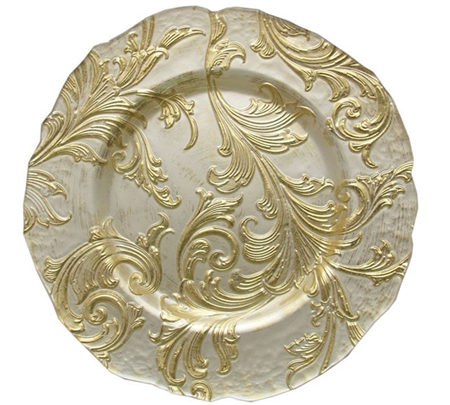 "13"" Chargeit by Jay Vanessa Gold Charger Plate - Set of 12"