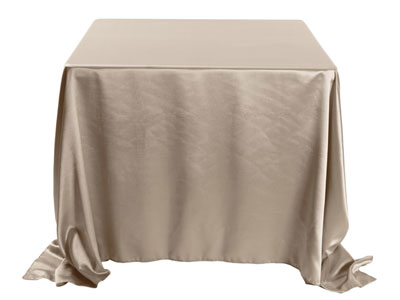 "Herringbone Polyester 108""x108"" Square Tablecloth (rounded corners)"