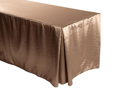 "Herringbone Polyester Fitted Tablecloth 30""x72""x29"" w/ Pleated Corners – 6FT Rectangular Table"