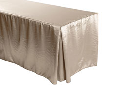 "Herringbone Polyester Fitted Tablecloth 30""x96""x29"" w/ Pleated Corners – 8FT Rectangular Table"