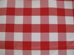 "Sample Polyester Check Tablecloth 108"" x 156"" Oval"
