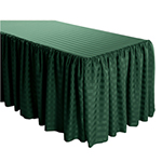 6 Foot Table (3 sides covered) Box Pleat Stripe Polyester Table Skirt -  11FT Section