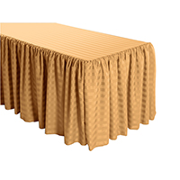 Shirred Stripe Polyester Table Skirt - 8 Foot Table (3 sides covered) 13FT Section