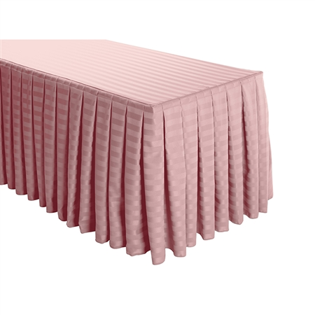 8 Foot Table (3 sides covered) Box Pleat Stripe Polyester Table Skirt -  13FT Section