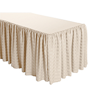 Shirred Stripe Polyester Table Skirt - 6 Foot Table (All sides covered) 17FT Section