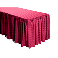 Shirred Stripe Polyester Table Skirt - 8 Foot Table (All sides covered) 21FT Section