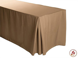 "Fire Retardant/Proof Polyester Fitted Tablecloth 30""X72""X29"" W/ Inverted Pleats - 6 Foot Table"