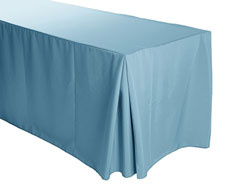 "Spun Polyester Fitted Tablecloth 30""x72""x29"" w/ Inverted Pleats 6 Foot Table"