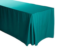 "8FT Premium Spun Polyester Rectangular Fitted Tablecloth 30""x96""x29"" with Inverted Pleates"