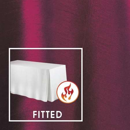 "8'x30"" Fitted Polished-Luster Flame Retardant Satin Tablecloth"