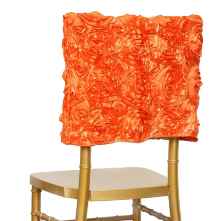 Grandiose Rosette Chair Caps (Square-Top) – Orange