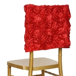 Grandiose Rosette Chair Caps (Square-Top) – Red