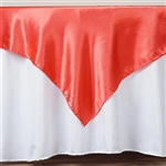 "60"" Coral Satin Square Overlay for Wedding Catering Party Table Decorations"