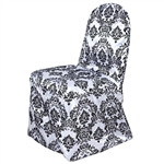 Flocking Chair Cover (Banquet) - Black / White
