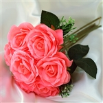28 Artificial Open Rose Flowers Bridal Bouquet Wedding Vase Centerpiece Decor in Coral