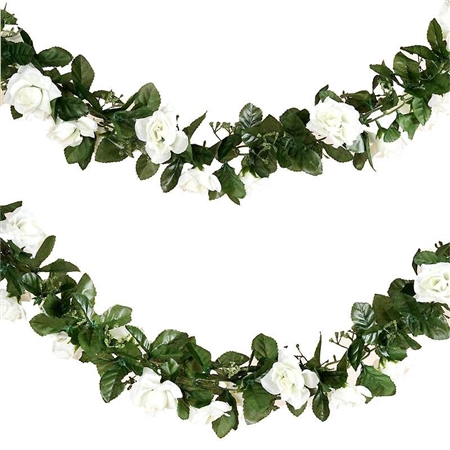 6 Ft Cream UV Protected Rose Chain Artificial Flower Garland