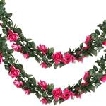 6 Ft Fushia UV Protected Rose Chain Artificial Flower Garland