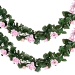 6 Ft Pink UV Protected Rose Chain Artificial Flower Garland