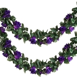 6 Ft Purple UV Protected Rose Chain Artificial Flower Garland