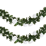 6 Ft White UV Protected Rose Chain Artificial Flower Garland