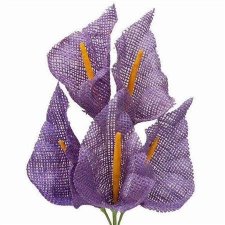 25 PCS Lavender Burlap Large Calla Lilies For Vase Centerpiece