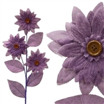 15 PCS Lavender Burlap Daisies Flowers For Vase Centerpiece