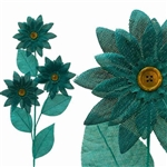 15 PCS Turquoise Burlap Daisies Flowers For Vase Centerpiece