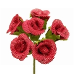 30 PCS Fushia Burlap Rose Buds For Vase Centerpiece