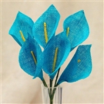 36 PCS Turquoise Burlap Everyday Calla Lilies For Vase Centerpiece