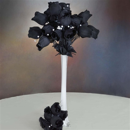 6 Bush 42 PCS Artificial Velvet Rose Bud Flowers - Black