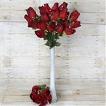 6 Bush 42 PCS Artificial Velvet Rose Bud Flowers - Black/Red