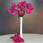 6 Bush 42 PCS Artificial Velvet Rose Bud Flowers - Fushia