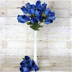 6 Bush 42 PCS Artificial Velvet Rose Bud Flowers - Navy Blue