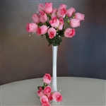6 Bush 42 PCS Artificial Velvet Rose Bud Flowers - Pink