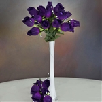 6 Bush 42 PCS Artificial Velvet Rose Bud Flowers - Purple