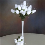 6 Bush 42 PCS Artificial Velvet Rose Bud Flowers - White
