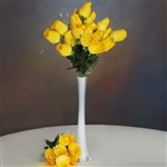 6 Bush 42 PCS Artificial Velvet Rose Bud Flowers - Yellow