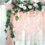 "42"" Artificial Wisteria Vine Hanging Garland - Blush/Rose Gold"