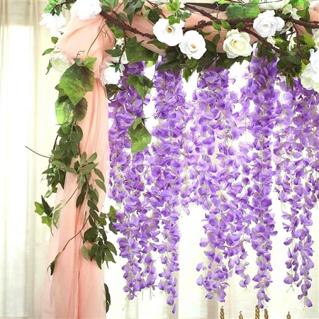 "42"" Artificial Wisteria Vine Silk Hanging Flower Garland - Lavender"
